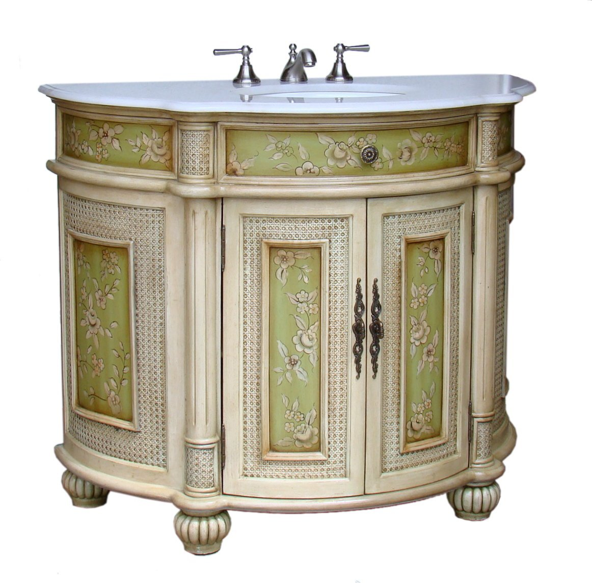 Adelina 41 Inch Antique Hand Painted Bathroom Vanity Fully Assembled White Marble Counter Top