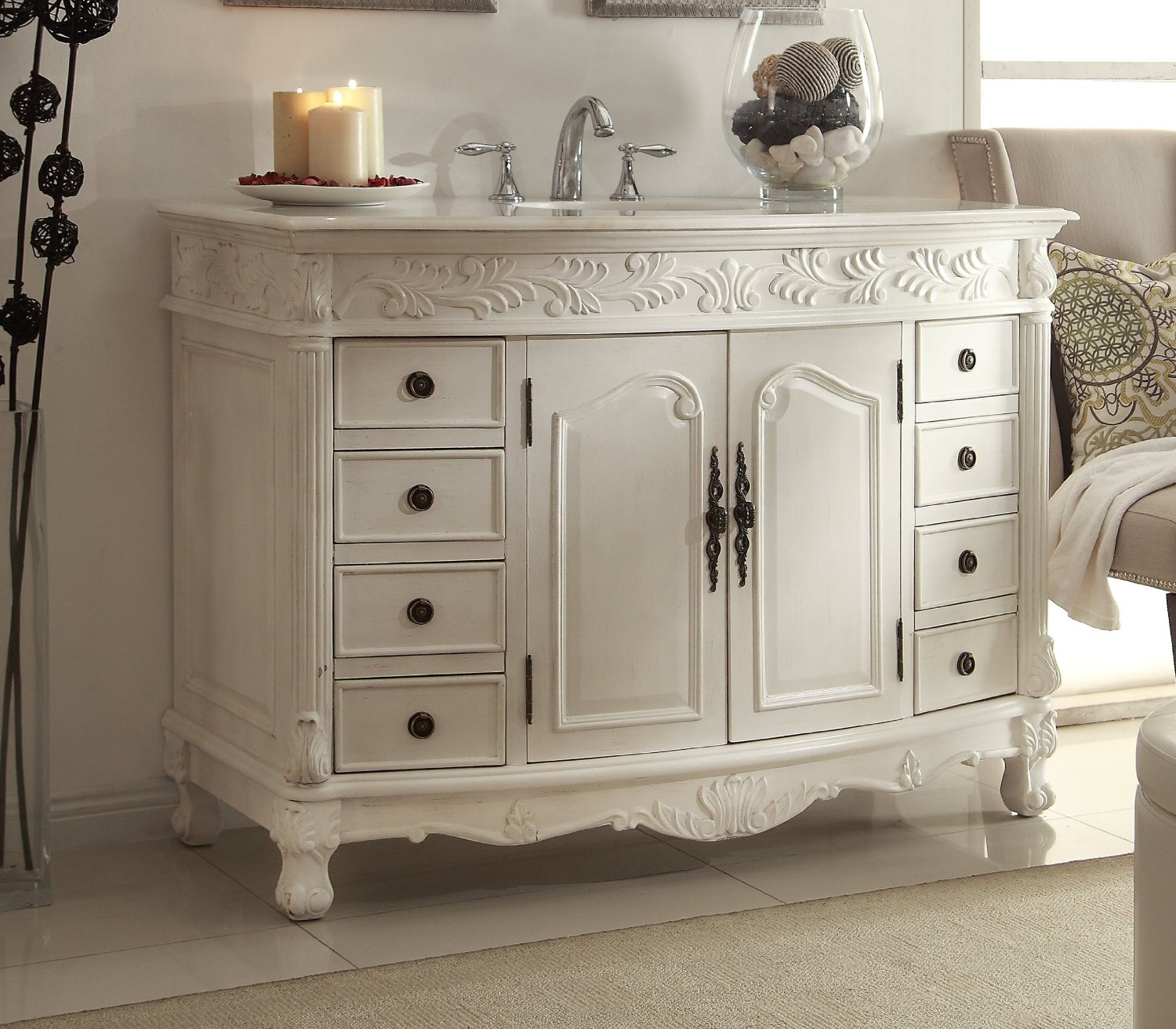 ... Adelina 48 inch Antique White Bathroom Vanity - Adelina 48 Inch Antique White Bathroom Vanity White Marble Top