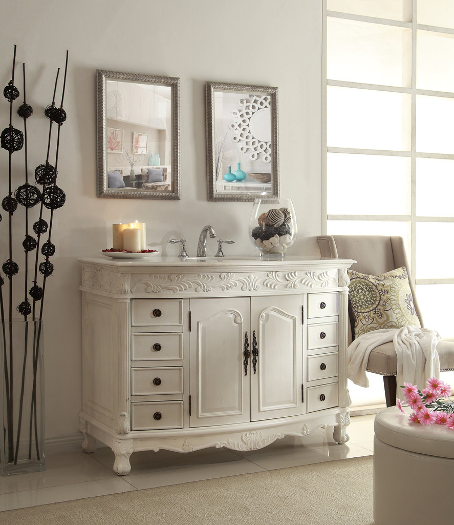 - Adelina 48 Inch Antique White Bathroom Vanity White Marble Top