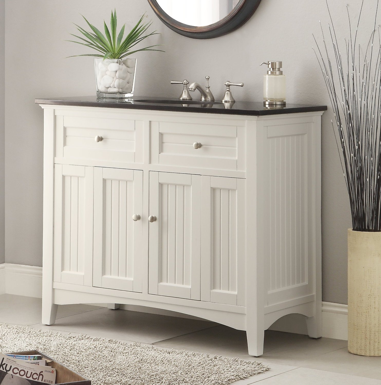 Adelina 42 inch Antique White Sink Bathroom Vanity ... - Adelina 48.75†Inch Antique White Sink Bathroom Vanity, Black