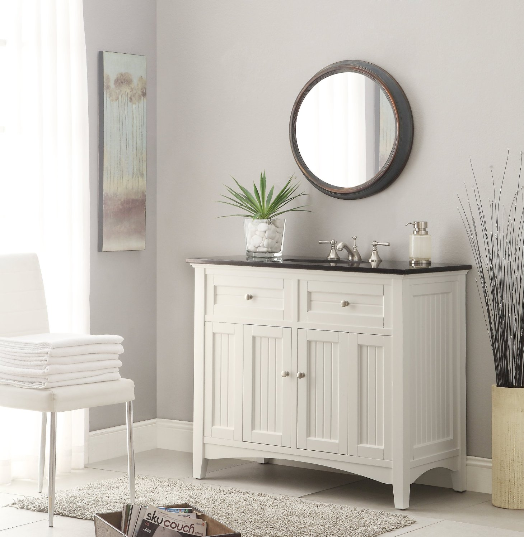 "Adelina 48.75"" inch Antique White Sink Bathroom Vanity, Black galaxy ..."