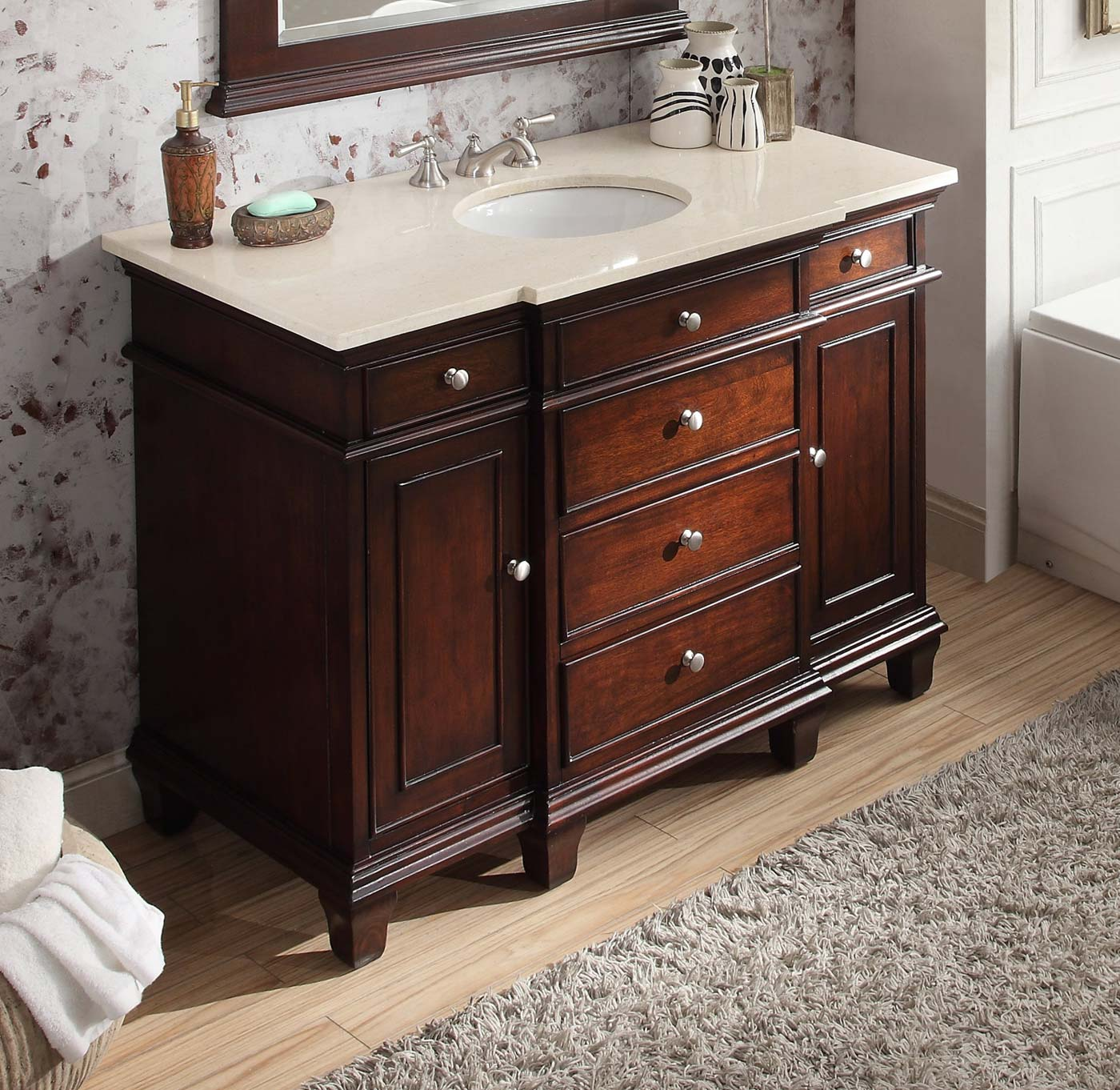 Adelina 48 Inch Bathroom Vanity Sink Cream Marble Top