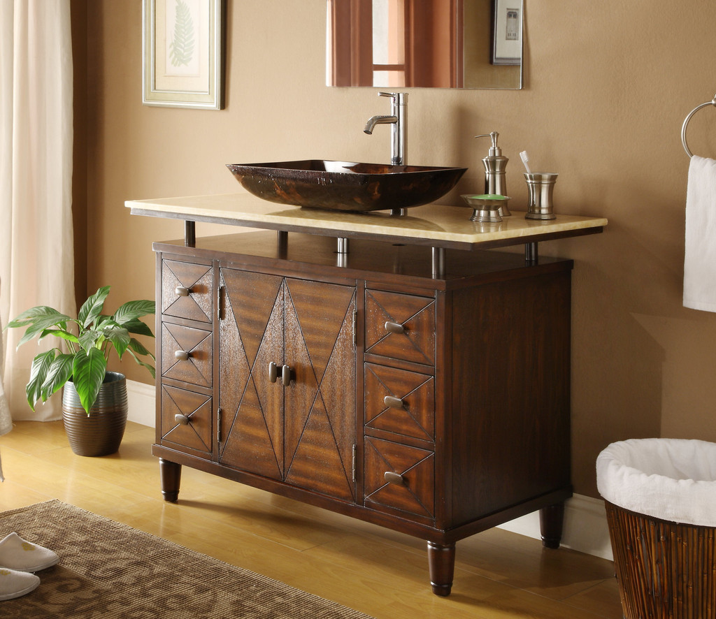 Adelina 48 inch contemporary vessel sink bathroom vanity for Bathroom vanities with sink