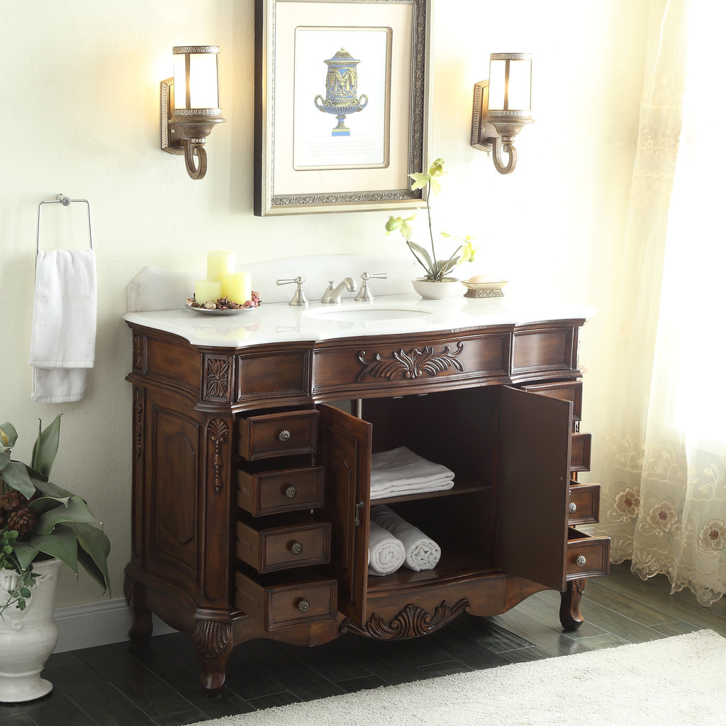 adelina 48 inch old fashioned look bathroom vanity, fully