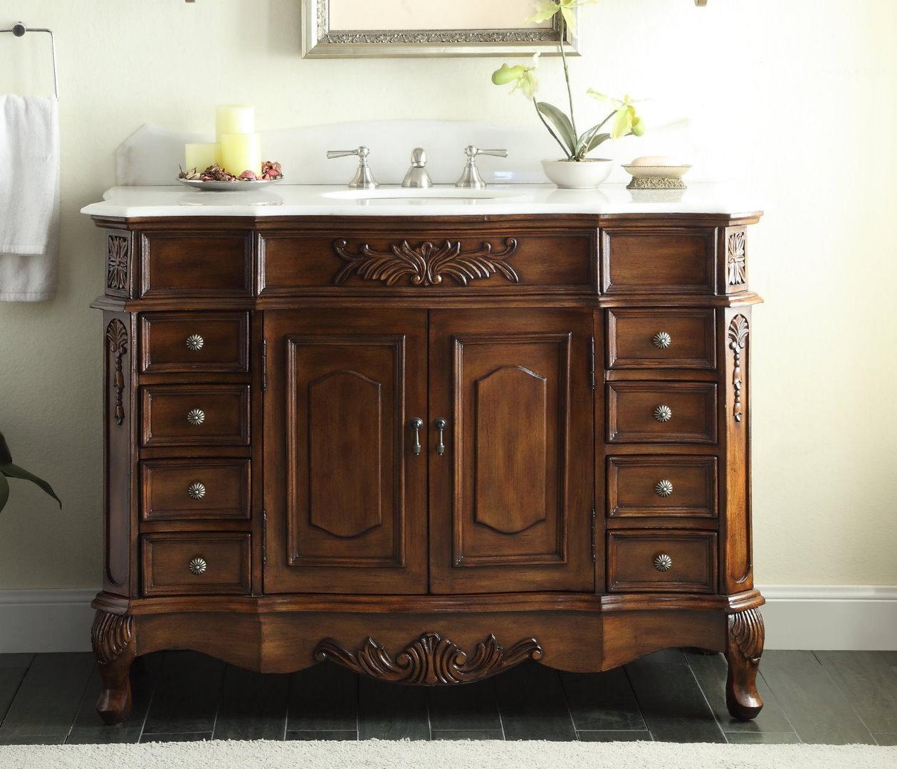 Adelina 48 inch old fashioned antique look bathroom vanity for Looking for bathroom vanity
