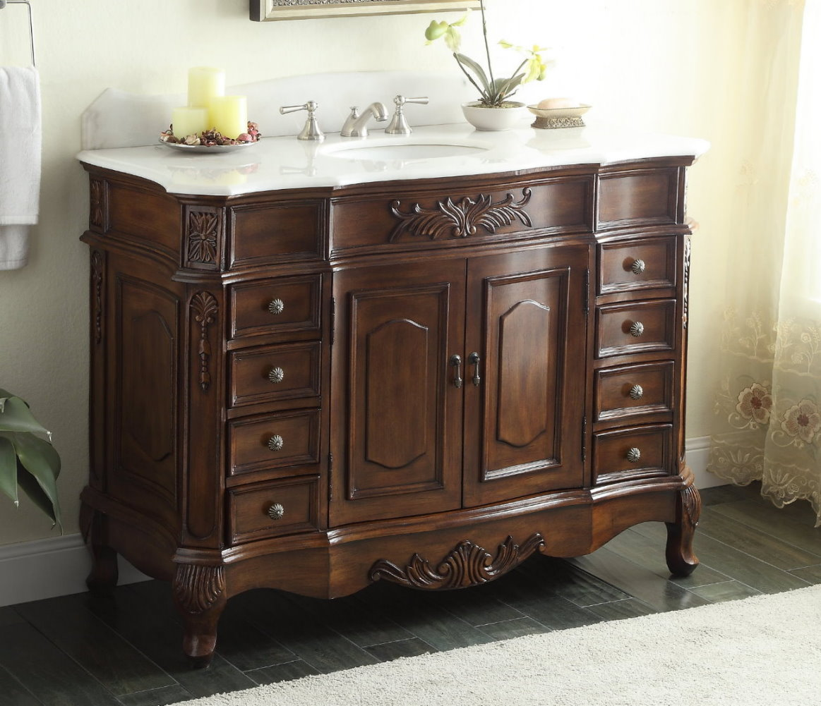 Adelina 48 inch old fashioned antique look bathroom vanity for Looking for bathroom vanities