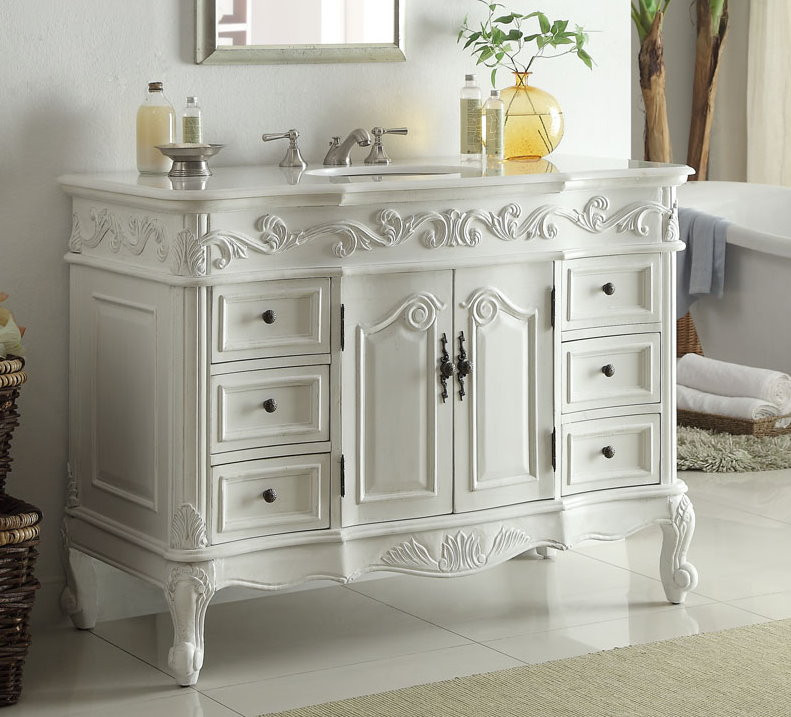 Adelina 48 inch traditional style antique white bathroom vanity for Bathroom vanities vintage style