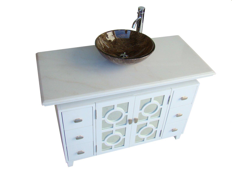 Adelina 48 Inch White Finish Vessel Sink Bathroom Vanity White Finish