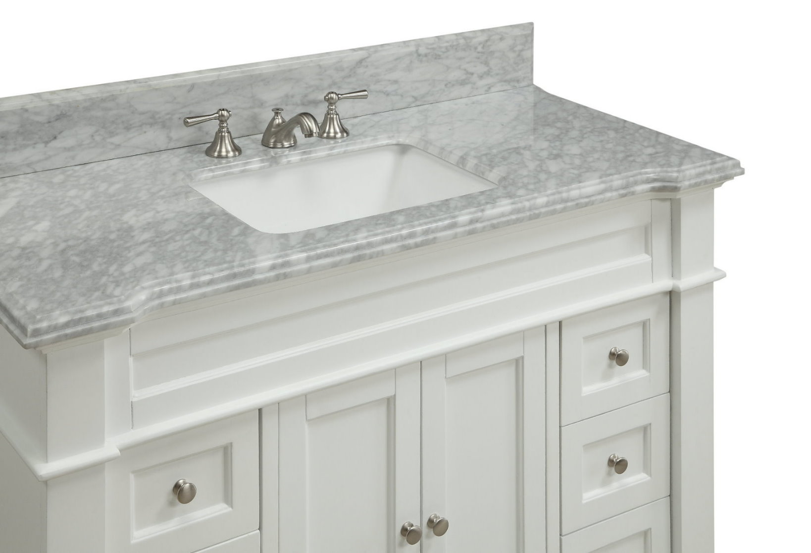Top Adelina 49 Inch Bathroom Vanity White Finish Carrara Op