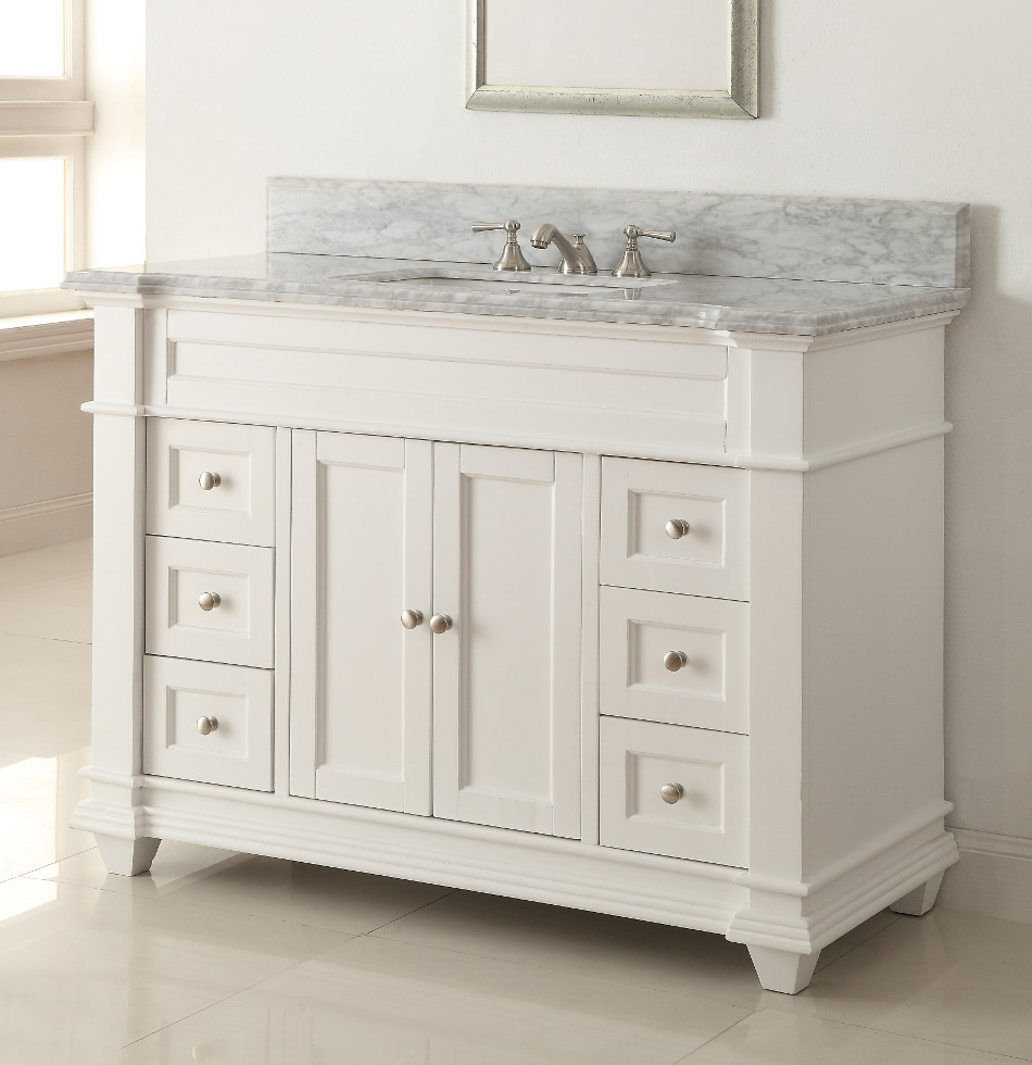 Adelina 49 inch bathroom vanity white finish carrara for Vanities for the bathroom