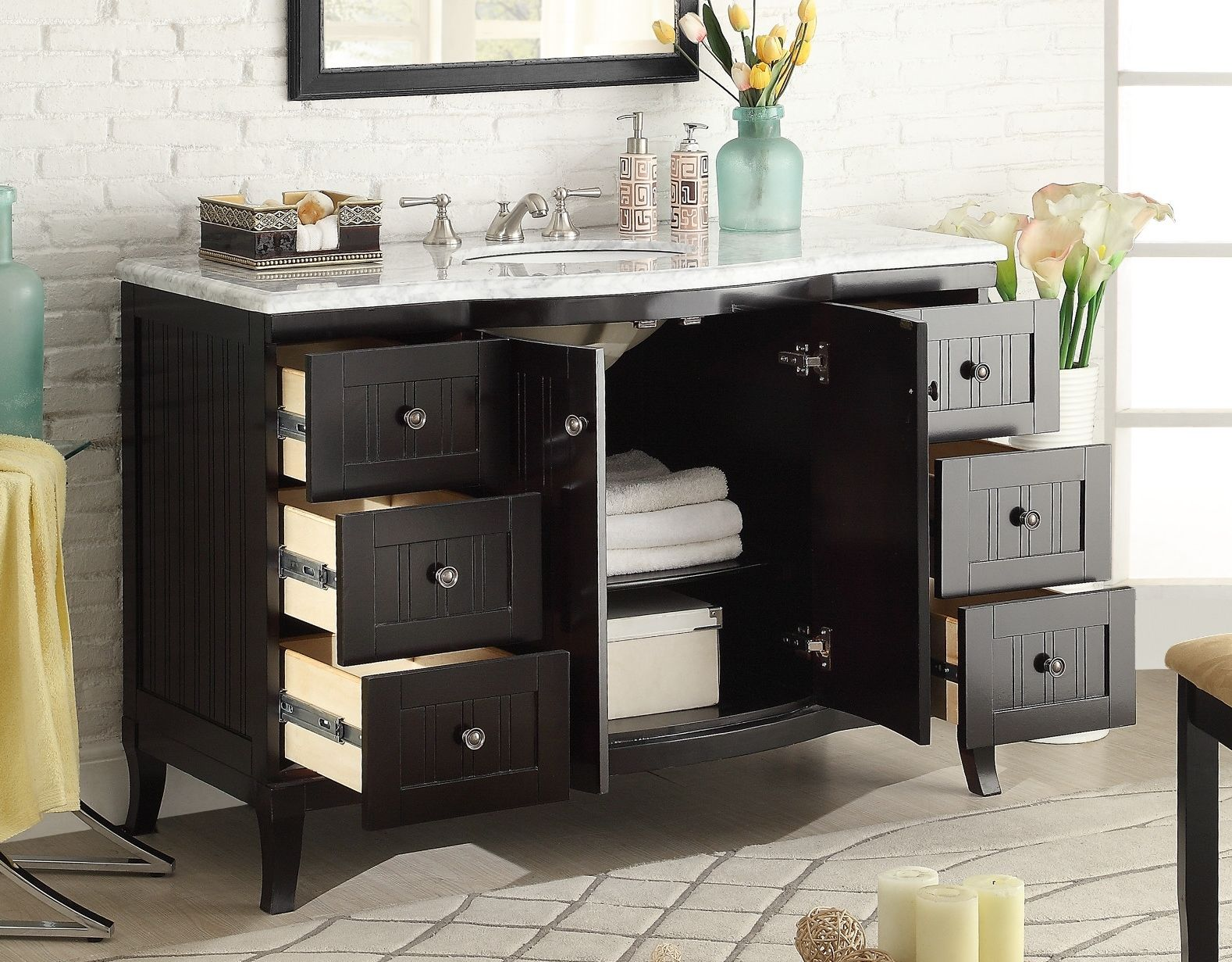 Modern Vanity Tops : Adelina quot contemporary single sink bathroom vanity