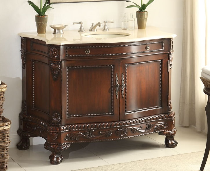 Adelina 50 inch Antique Style Bathroom Vanity ... - Adelina 50 Inch Antique Style Bathroom Vanity, Fully Assembled