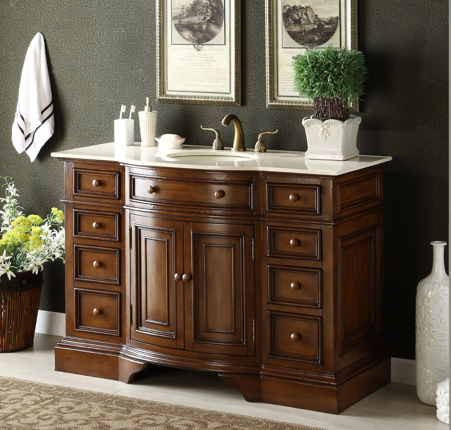 Adelina 51 inch Antique Bathroom Vanity Fully Assembled
