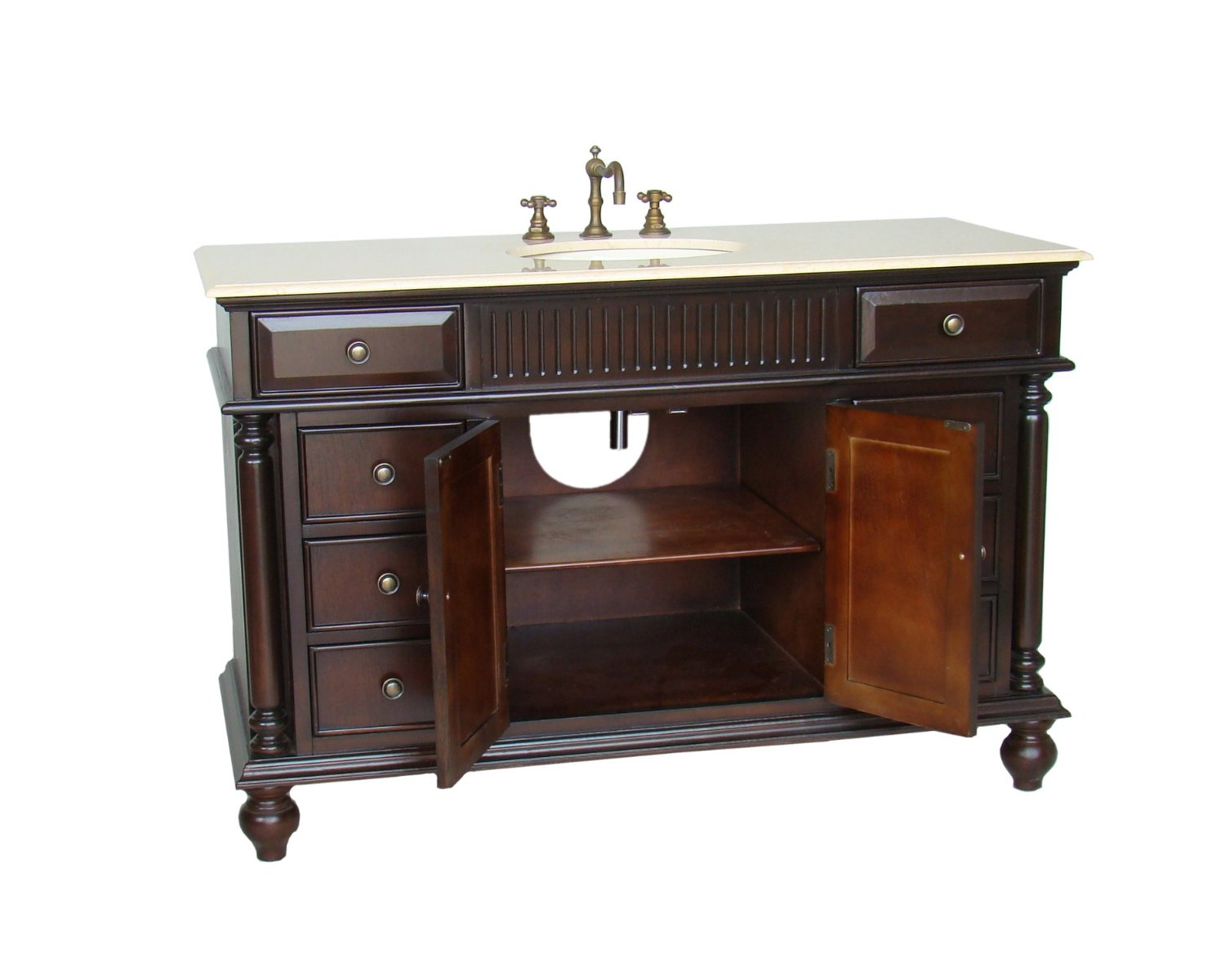 - Adelina 53 Inch Antique Solid Wood Bathroom Vanity
