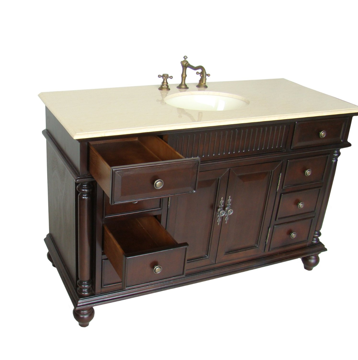 Adelina 53 inch Antique Solid Wood Bathroom Vanity – Real Wood Bathroom Vanities