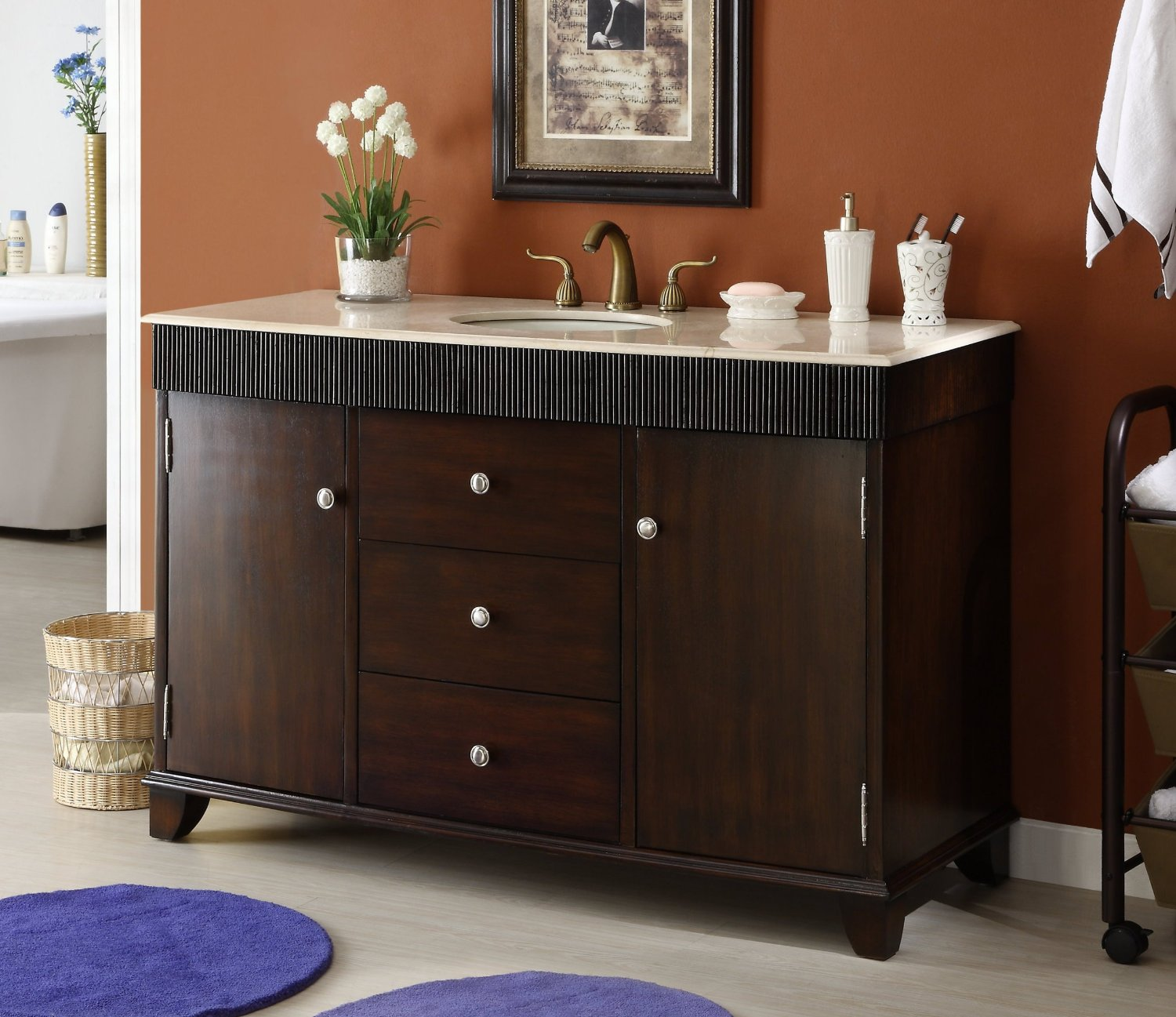 bathroom cabinets with vanity adelina 54 inch contemporary style bathroom vanity 11428
