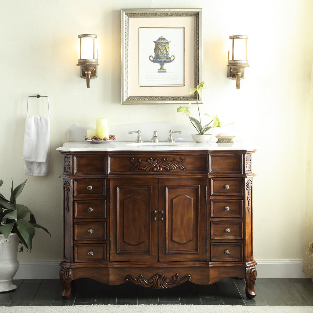 Adelina 56 inch Antique Style Bathroom Vanity Cabinet - Adelina 56 Inch  Antique - Antique Looking Bathroom Vanities Antique Furniture