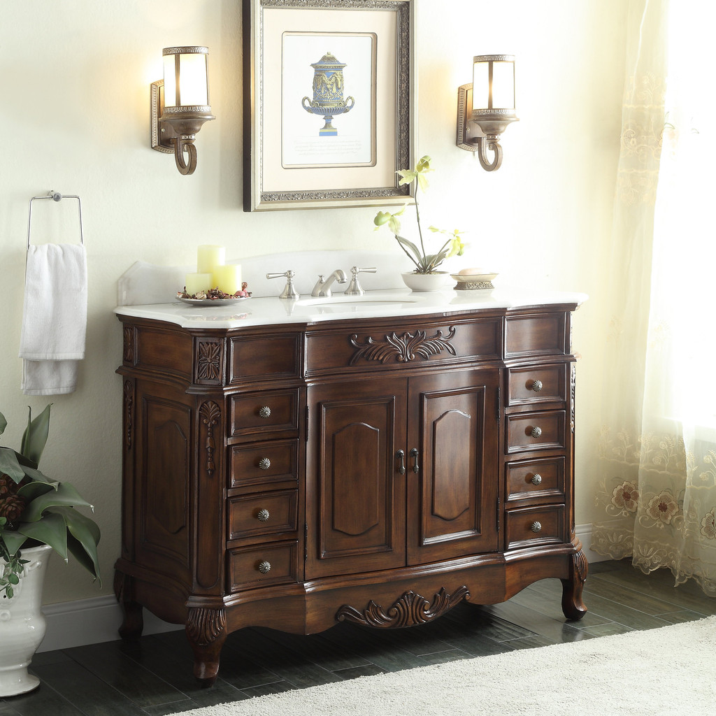 Adelina 56 inch Antique Style Bathroom Vanity ... - Adelina 56 Inch Antique Style Bathroom Vanity, Fully Assembled