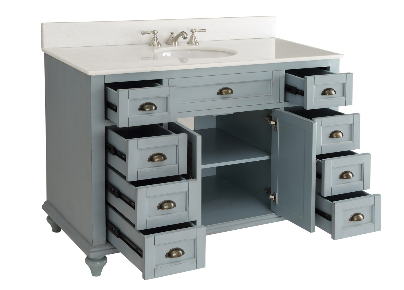 Adelina 49 inch Antique Vanity Blue Finish - Adelina 49 Inch Antique  Bathroom - Antique Blue Vanity Antique Furniture