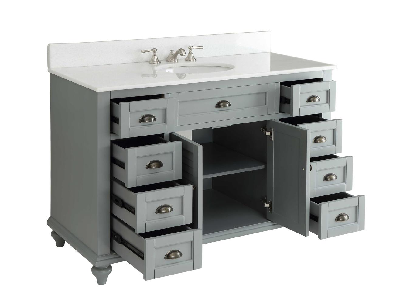 Adelina 49 inch Antique Bathroom Vanity Grey Finish Adelina 49 inch Antique Vanity Grey Finish