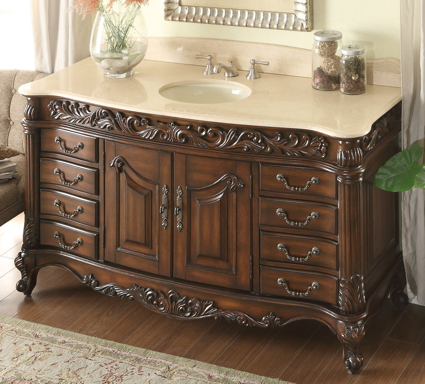 Adelina 60 Inch Antique Bathroom Vanity Beveled Edges Marble Top ...
