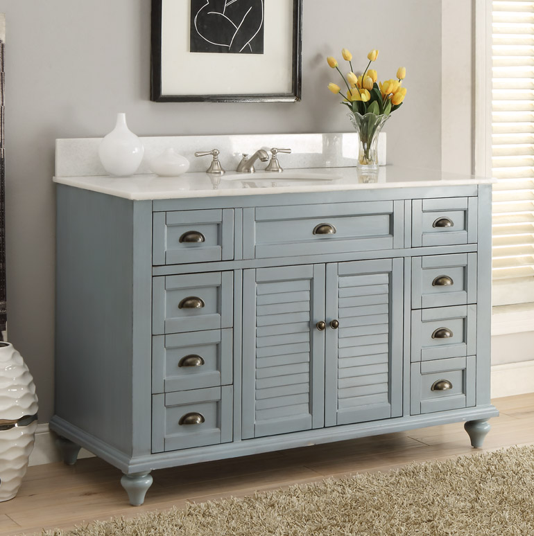 49 inch Adelina Antique Bathroom Vanity Blue Finish - 49 Inch Antique Bathroom Vanity Blue Finish