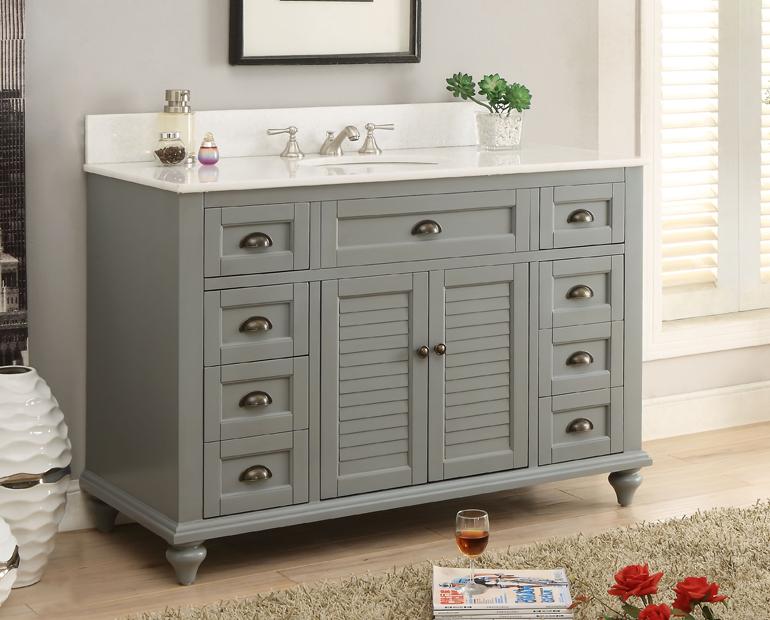 Adelina Inch Antique Bathroom Vanity Grey Finish - Antique grey bathroom vanity