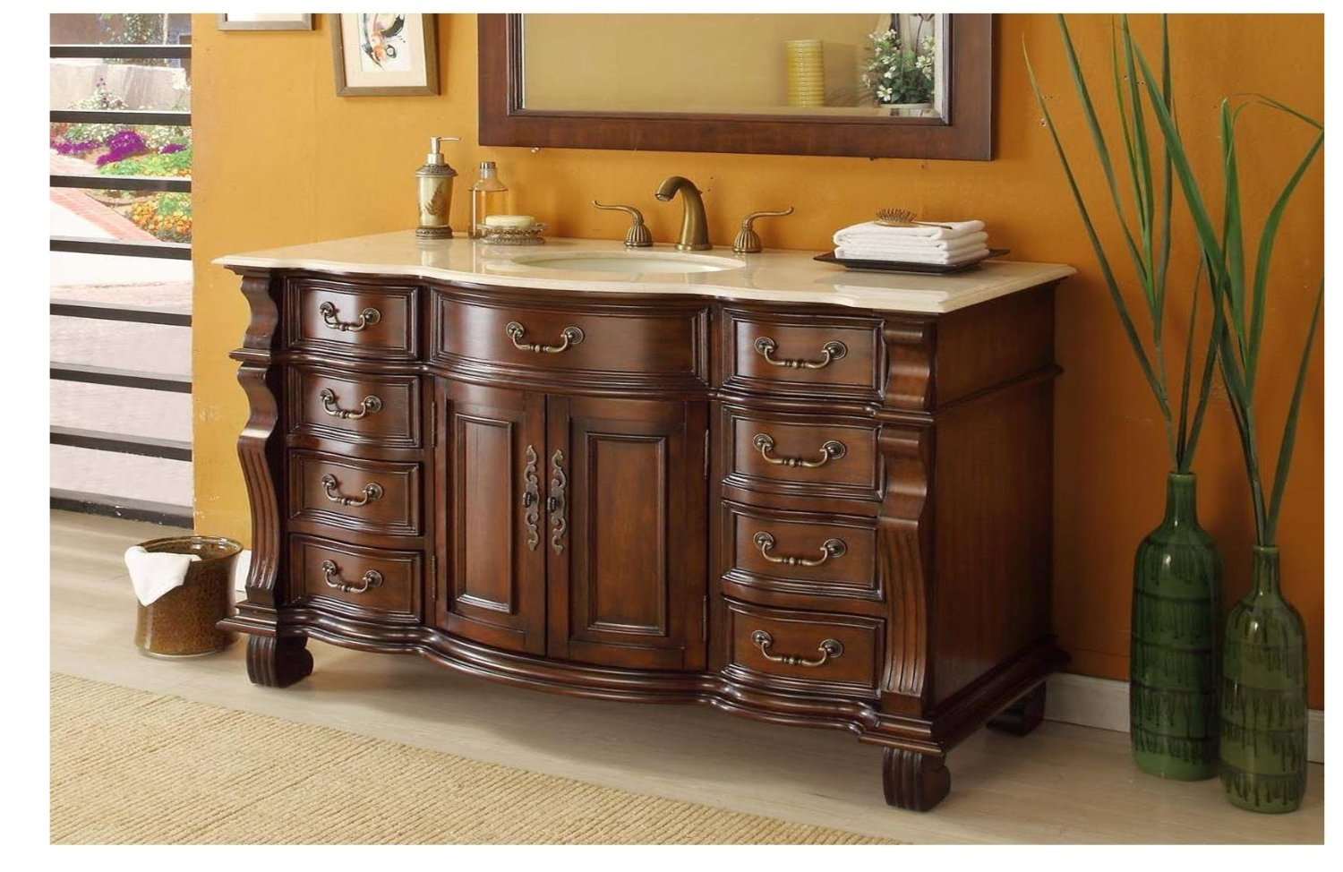 adelina 60 inch antique style bathroom vanity cream marble top - 60 Bathroom Vanity