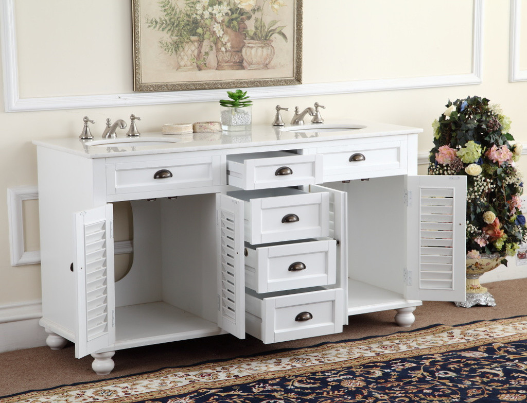 Adelina 60 inch antique white double sink bathroom vanity marble counter top - Small cottage style bathroom vanity design ...