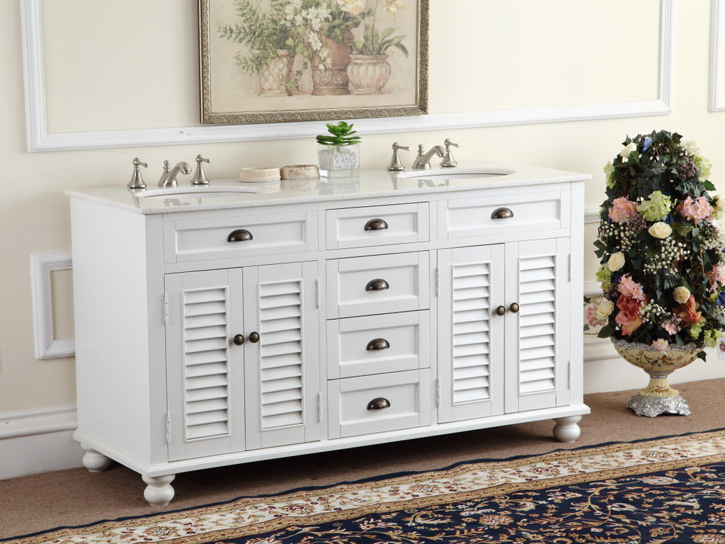60 white bathroom vanity - Adelina 60 Inch Antique White Double Sink Bathroom Vanity