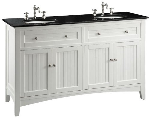 Adelina 60 inch Cottage White Double Sink Bathroom Vanity, Black ...