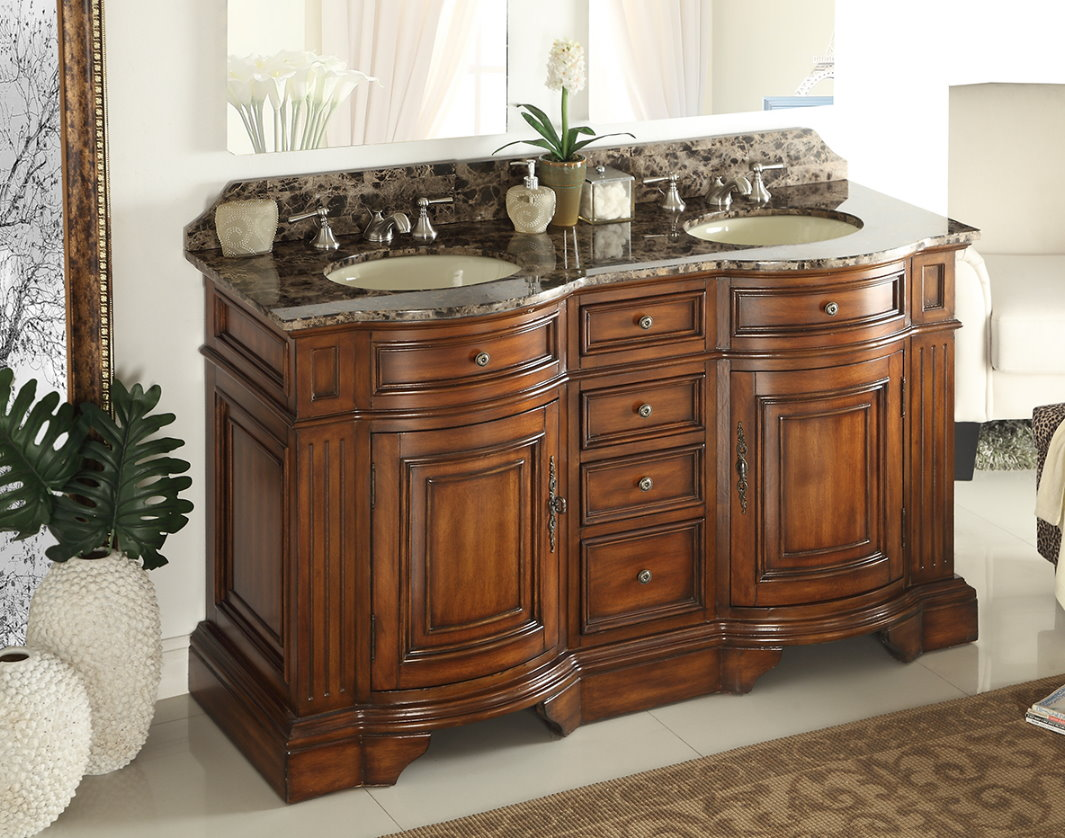 Adelina 60 inch double sink bathroom vanity chestnut finish for Long bathroom vanity