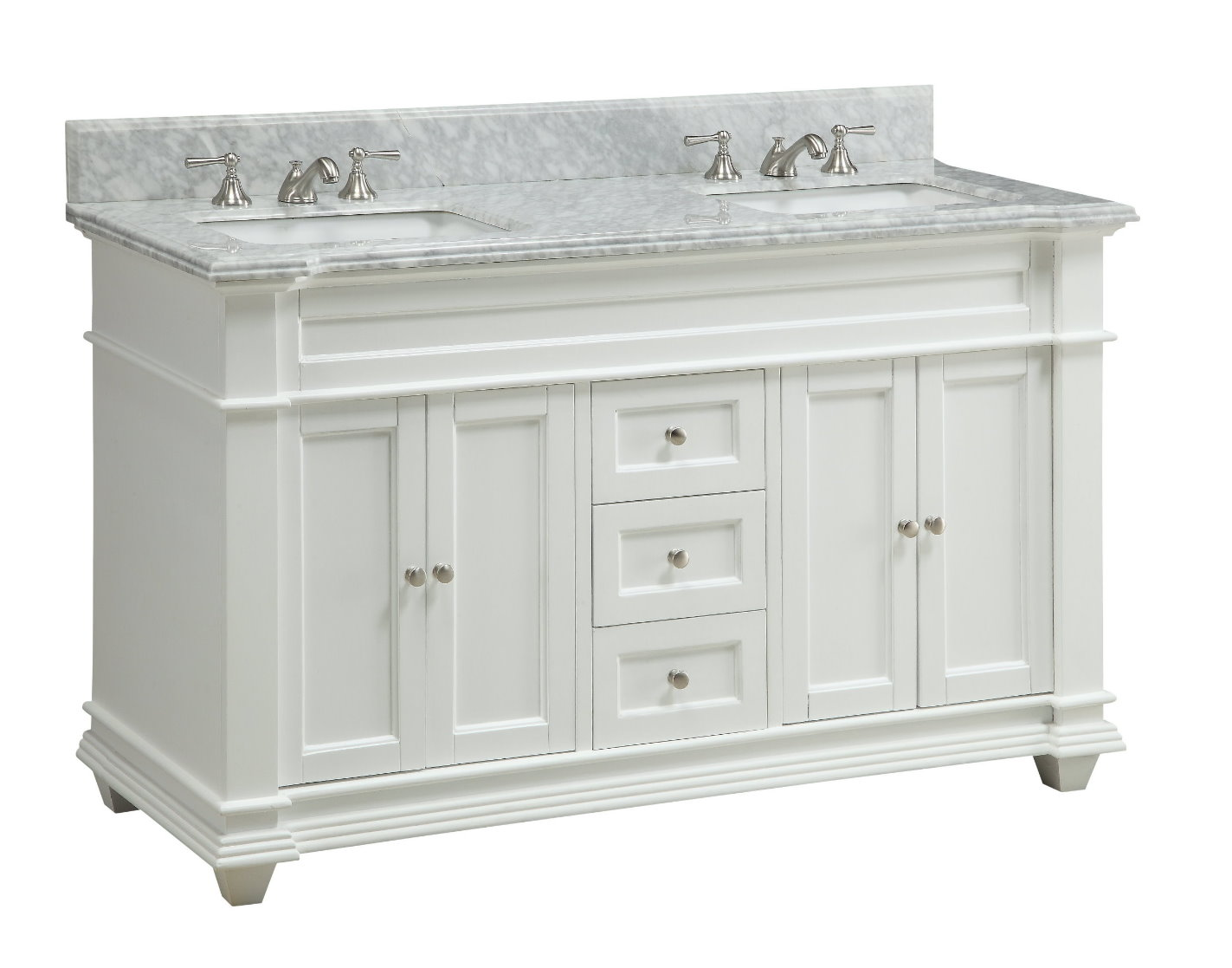 Lastest Natural Granite Top 60inch Double Sink Bathroom Vanity In White