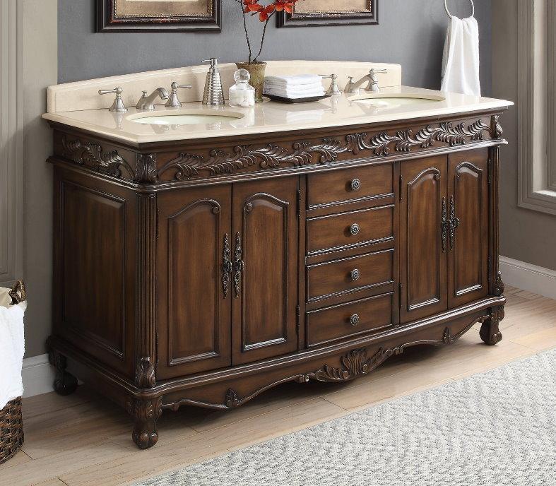 Adelina 63 Inch Antique Bathroom Vanity, 62 Inch Double Sink Bathroom Vanity Set