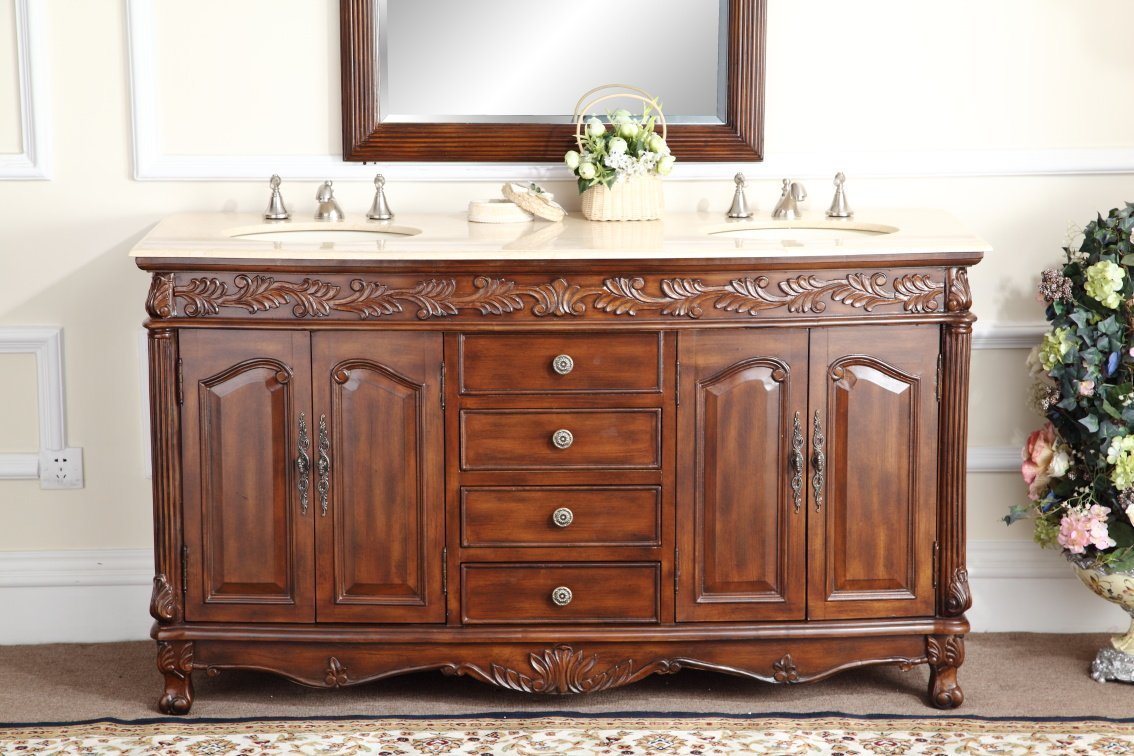Adelina Inch Antique Double Bathroom Vanity Chestnut Finish - 63 inch double sink bathroom vanity for bathroom decor ideas