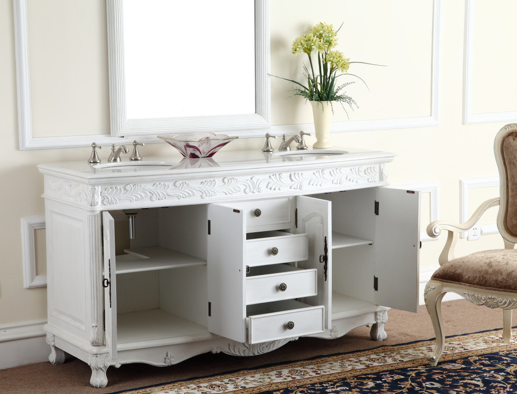 ... Adelina 63 inch White Antique Double Bathroom Vanity Cabinet ... - Adelina 63 Inch White Antique Double Bathroom Vanity, Fully Assembled