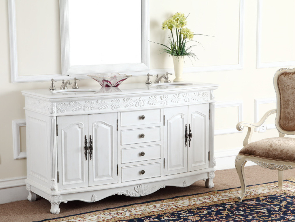 Adelina 63 inch White Antique Double Bathroom Vanity ... - Adelina 63 Inch White Antique Double Bathroom Vanity, Fully Assembled