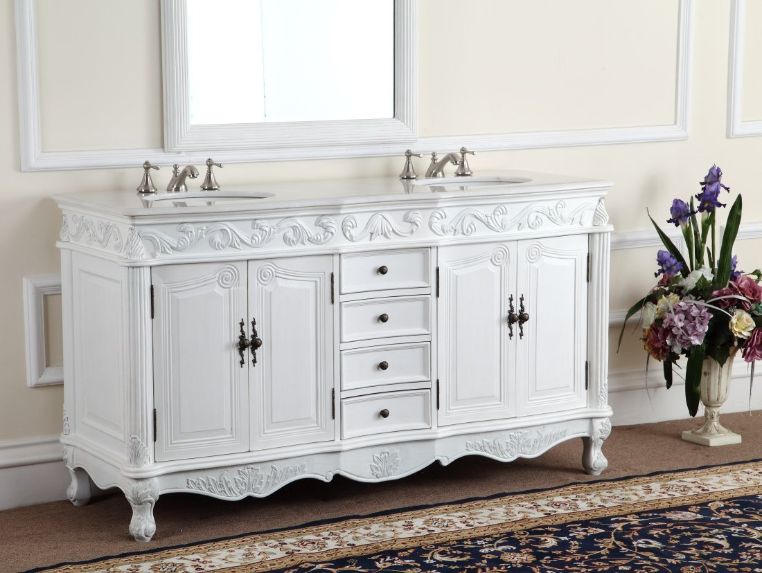 Adelina 64 inch antique white double bathroom vanity for Antique white double sink bathroom vanities