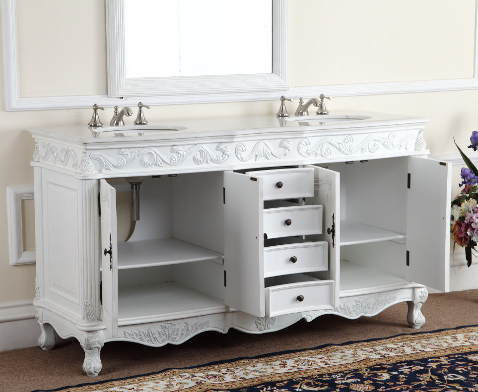 ... Adelina 64 inch Antique White Double Bath Vanity ... - Adelina 64 Inch Antique White Double Bathroom Vanity, Fully