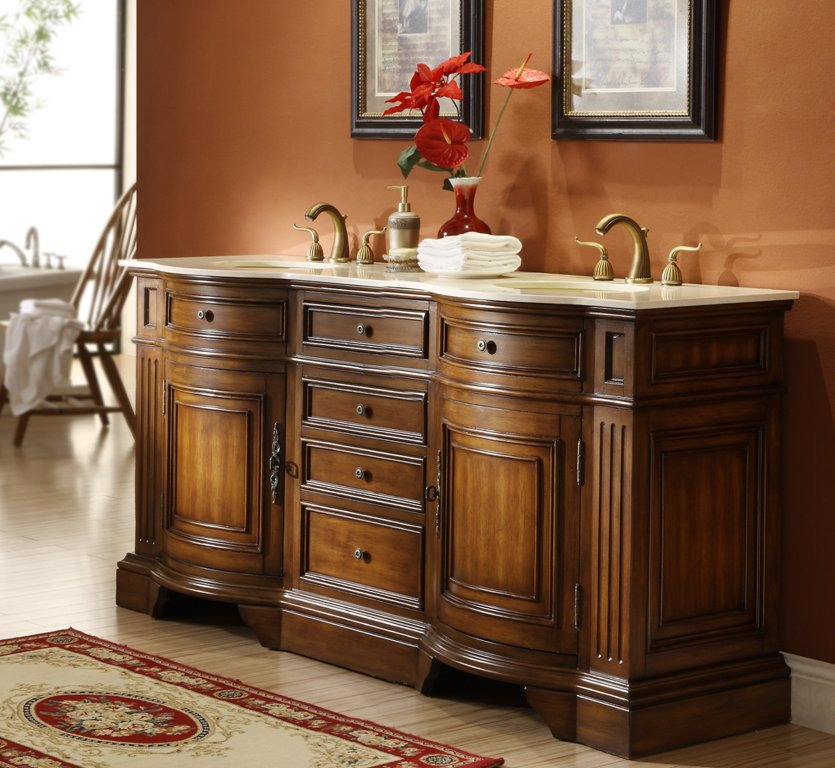 Adelina Inch Antique Double Sink Bathroom Vanity Fully Assembled - Bathroom vanities 72 inch double sink