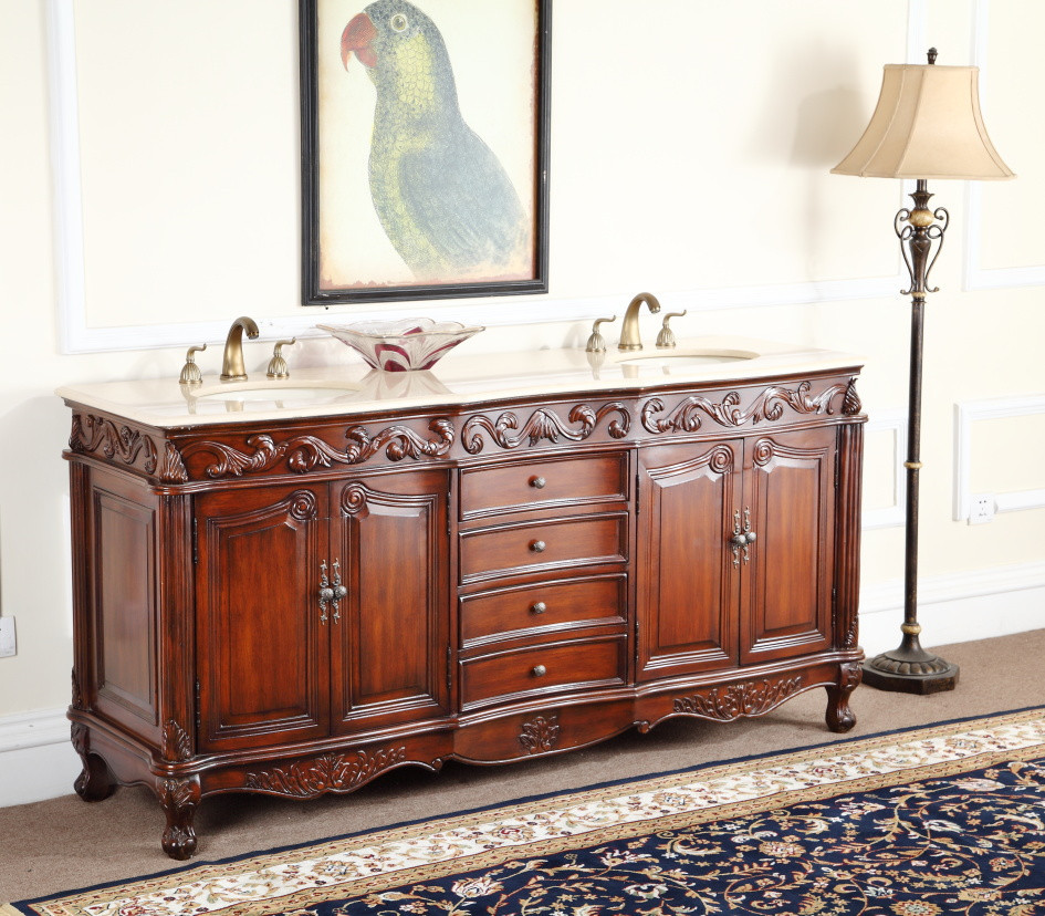 Adelina 72 inch Antique Double Sink Bathroom Vanity ... - Adelina 72 Inch Antique Double Bathroom Vanity, Fully Assembled