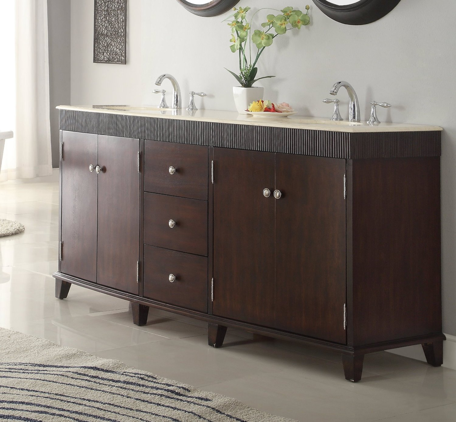 Adelina 72 Inch Double Sink Bathroom Vanity Cream Marble Top ...