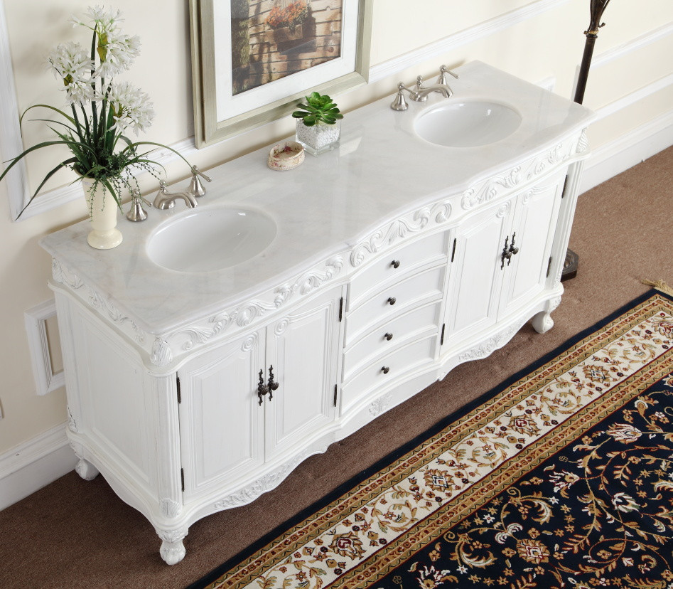Adelina 72 Inch White Antique Double Bathroom Vanity Top