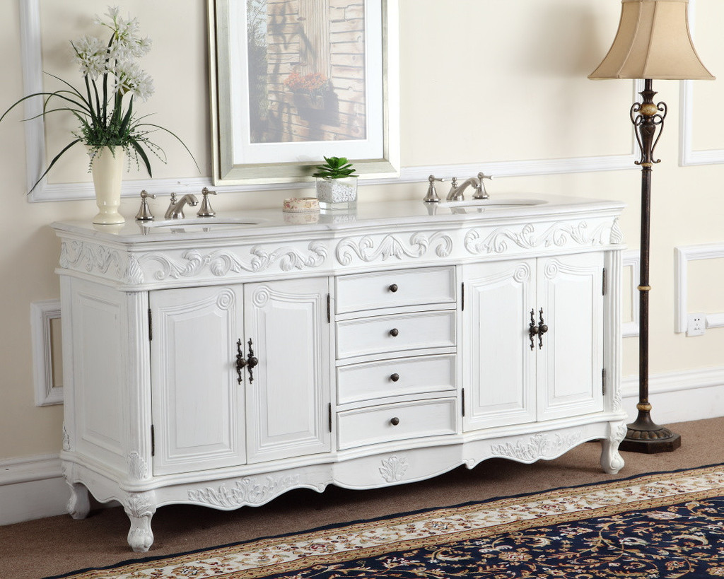 Adelina 72 inch White Antique Double Bathroom Vanity ... - Adelina 72 Inch White Antique Double Bathroom Vanity, Fully