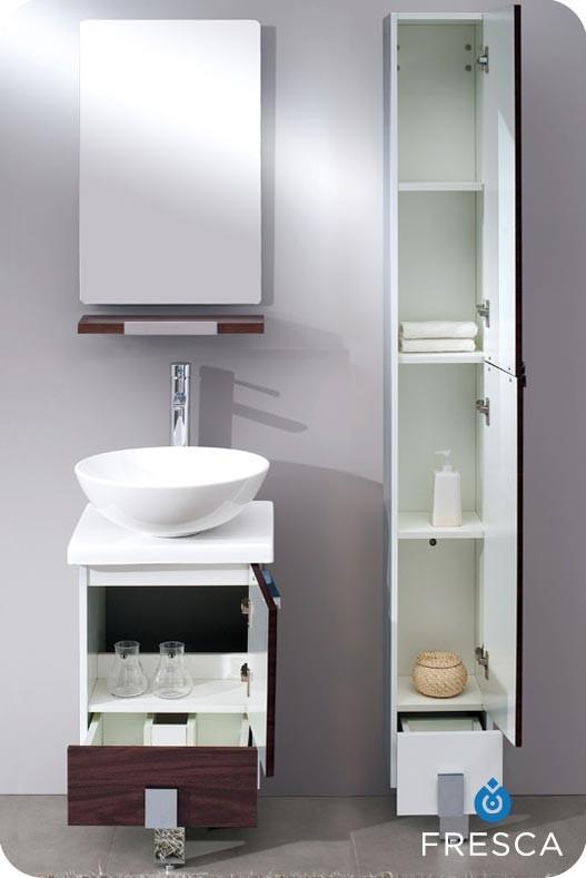 "fresca adour 16"" dark walnut modern bathroom vanity with mirror"
