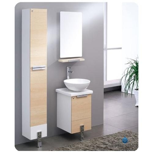 "fresca adour 16"" light walnut modern bathroom vanity with mirror"