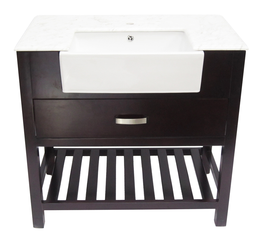 Alfi 36 Inch Oak Single Sink Bathroom Vanity Set