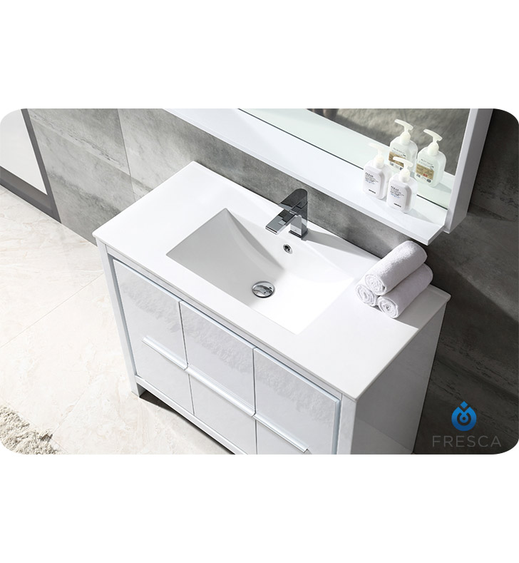 Allier 40 Modern Bathroom Vanity Glossy White Finish P Trap Faucet Pop Up Drain And