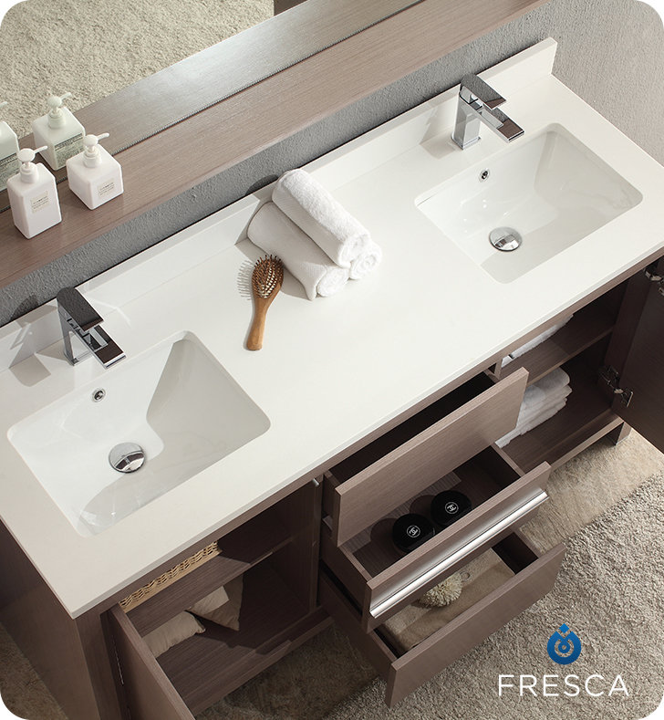 Fresca Allier 60 Modern Double Sink Bathroom Vanity Grey Oak Finish