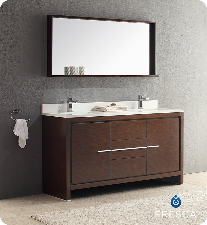 Fresca Allier 60 Modern Double Sink Bathroom Vanity Wenge Dark Brown Finish